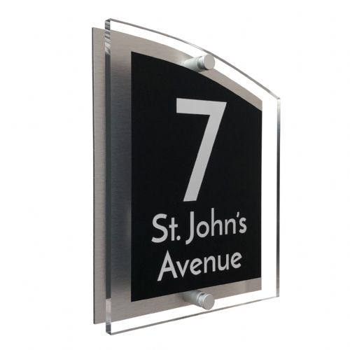 Arc Shape - Clear Acrylic House Sign - Black Colour with White text in Font  3